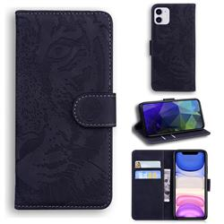 Intricate Embossing Tiger Face Leather Wallet Case for iPhone 11 (6.1 inch) - Black