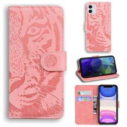 Intricate Embossing Tiger Face Leather Wallet Case for iPhone 11 (6.1 inch) - Pink