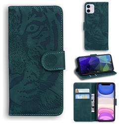 Intricate Embossing Tiger Face Leather Wallet Case for iPhone 11 (6.1 inch) - Green