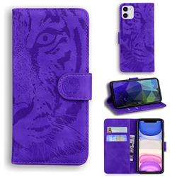 Intricate Embossing Tiger Face Leather Wallet Case for iPhone 11 (6.1 inch) - Purple
