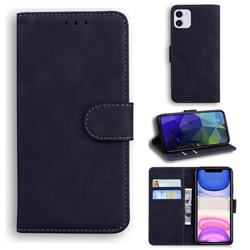 Retro Classic Skin Feel Leather Wallet Phone Case for iPhone 11 (6.1 inch) - Black
