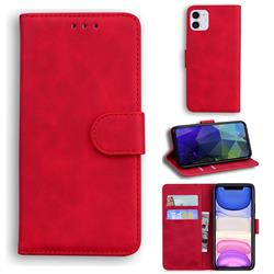 Retro Classic Skin Feel Leather Wallet Phone Case for iPhone 11 (6.1 inch) - Red