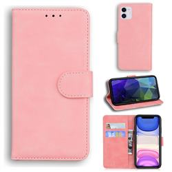 Retro Classic Skin Feel Leather Wallet Phone Case for iPhone 11 (6.1 inch) - Pink