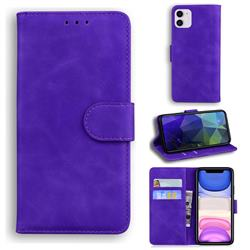 Retro Classic Skin Feel Leather Wallet Phone Case for iPhone 11 (6.1 inch) - Purple