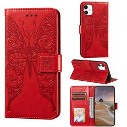 Intricate Embossing Rose Flower Butterfly Leather Wallet Case for iPhone 11 (6.1 inch) - Red