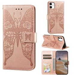 Intricate Embossing Rose Flower Butterfly Leather Wallet Case for iPhone 11 (6.1 inch) - Rose Gold