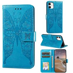 Intricate Embossing Rose Flower Butterfly Leather Wallet Case for iPhone 11 (6.1 inch) - Blue
