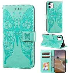Intricate Embossing Rose Flower Butterfly Leather Wallet Case for iPhone 11 (6.1 inch) - Green