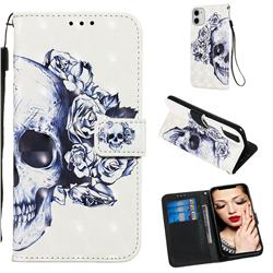 Skull Flower 3D Painted Leather Wallet Case for iPhone 11 (6.1 inch)
