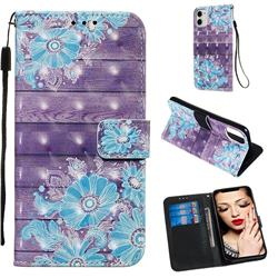 Blue Flower 3D Painted Leather Wallet Case for iPhone 11 (6.1 inch)