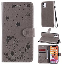 Embossing Bee and Cat Leather Wallet Case for iPhone 11 (6.1 inch) - Gray