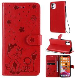 Embossing Bee and Cat Leather Wallet Case for iPhone 11 (6.1 inch) - Red