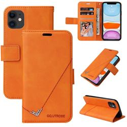 GQ.UTROBE Right Angle Silver Pendant Leather Wallet Phone Case for iPhone 11 (6.1 inch) - Orange