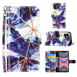 Starry Blue Stitching Color Marble Leather Wallet Case for iPhone 11 (6.1 inch)