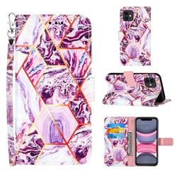 Dream Purple Stitching Color Marble Leather Wallet Case for iPhone 11 (6.1 inch)