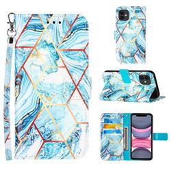 Lake Blue Stitching Color Marble Leather Wallet Case for iPhone 11 (6.1 inch)