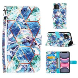 Green and Blue Stitching Color Marble Leather Wallet Case for iPhone 11 (6.1 inch)