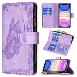 Binfen Color Imprint Vivid Butterfly Buckle Zipper Multi-function Leather Phone Wallet for iPhone 11 (6.1 inch) - Purple