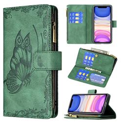 Binfen Color Imprint Vivid Butterfly Buckle Zipper Multi-function Leather Phone Wallet for iPhone 11 (6.1 inch) - Green