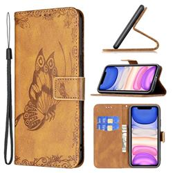 Binfen Color Imprint Vivid Butterfly Leather Wallet Case for iPhone 11 (6.1 inch) - Brown