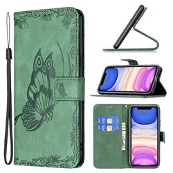 Binfen Color Imprint Vivid Butterfly Leather Wallet Case for iPhone 11 (6.1 inch) - Green