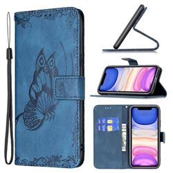 Binfen Color Imprint Vivid Butterfly Leather Wallet Case for iPhone 11 (6.1 inch) - Blue