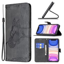 Binfen Color Imprint Vivid Butterfly Leather Wallet Case for iPhone 11 (6.1 inch) - Black