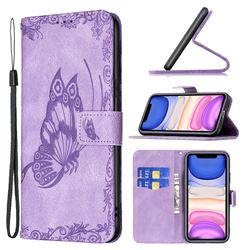 Binfen Color Imprint Vivid Butterfly Leather Wallet Case for iPhone 11 (6.1 inch) - Purple