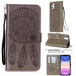 Embossing Dream Catcher Mandala Flower Leather Wallet Case for iPhone 11 (6.1 inch) - Gray