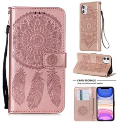 Embossing Dream Catcher Mandala Flower Leather Wallet Case for iPhone 11 (6.1 inch) - Rose Gold