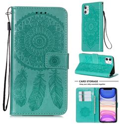 Embossing Dream Catcher Mandala Flower Leather Wallet Case for iPhone 11 (6.1 inch) - Green
