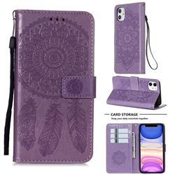 Embossing Dream Catcher Mandala Flower Leather Wallet Case for iPhone 11 (6.1 inch) - Purple