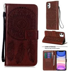 Embossing Dream Catcher Mandala Flower Leather Wallet Case for iPhone 11 (6.1 inch) - Brown