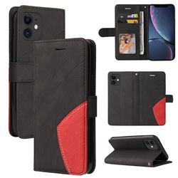 Luxury Two-color Stitching Leather Wallet Case Cover for iPhone 11 (6.1 inch) - Black
