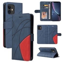 Luxury Two-color Stitching Leather Wallet Case Cover for iPhone 11 (6.1 inch) - Blue
