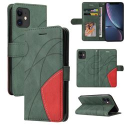 Luxury Two-color Stitching Leather Wallet Case Cover for iPhone 11 (6.1 inch) - Green