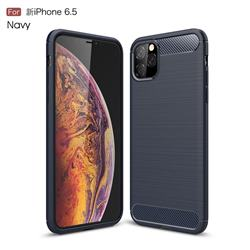 Luxury Carbon Fiber Brushed Wire Drawing Silicone TPU Back Cover for iPhone 11 Pro Max (6.5 inch) - Navy