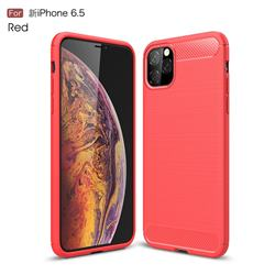 Luxury Carbon Fiber Brushed Wire Drawing Silicone TPU Back Cover for iPhone 11 Pro Max (6.5 inch) - Red