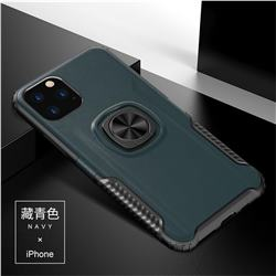 Knight Armor Anti Drop PC + Silicone Invisible Ring Holder Phone Cover for iPhone 11 Pro Max (6.5 inch) - Navy