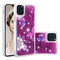 Purple Flower Butterfly Dynamic Liquid Glitter Quicksand Soft TPU Case for iPhone 11 Pro Max (6.5 inch)