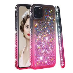 Diamond Frame Liquid Glitter Quicksand Sequins Phone Case for iPhone 11 Pro Max (6.5 inch) - Gray Pink