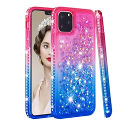 Diamond Frame Liquid Glitter Quicksand Sequins Phone Case for iPhone 11 Pro Max (6.5 inch) - Pink Blue