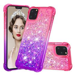 Rainbow Gradient Liquid Glitter Quicksand Sequins Phone Case for iPhone 11 Pro Max (6.5 inch) - Pink Purple