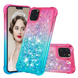 Rainbow Gradient Liquid Glitter Quicksand Sequins Phone Case for iPhone 11 Pro Max (6.5 inch) - Pink Blue