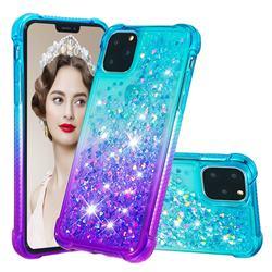 Rainbow Gradient Liquid Glitter Quicksand Sequins Phone Case for iPhone 11 Pro Max (6.5 inch) - Blue Purple