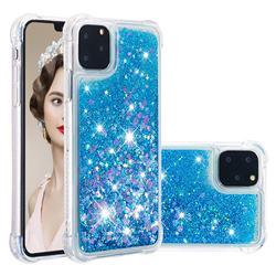 Dynamic Liquid Glitter Sand Quicksand TPU Case for iPhone 11 Pro Max (6.5 inch) - Blue Love Heart