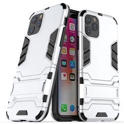 Armor Premium Tactical Grip Kickstand Shockproof Dual Layer Rugged Hard Cover for iPhone 11 Pro Max (6.5 inch) - Silver