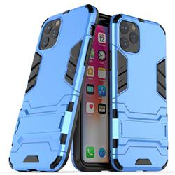 Armor Premium Tactical Grip Kickstand Shockproof Dual Layer Rugged Hard Cover for iPhone 11 Pro Max (6.5 inch) - Light Blue