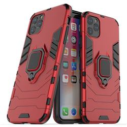 Black Panther Armor Metal Ring Grip Shockproof Dual Layer Rugged Hard Cover for iPhone 11 Pro Max (6.5 inch) - Red