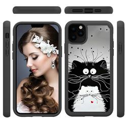 Black and White Cat Shock Absorbing Hybrid Defender Rugged Phone Case Cover for iPhone 11 Pro Max (6.5 inch)